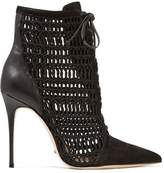 Schutz Jolana Paneled Open-Knit Suede And Leather Ankle Boots