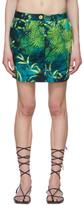 Versace Green Denim Jungle Print Miniskirt