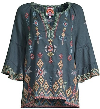 Johnny Was Cerise Tiered Sleeve Embroidered Peasant Top