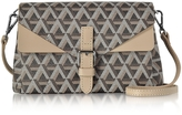 Lancaster Paris Ikon Brown & Nude Coated Canvas and Leather Mini Clutch