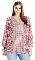 NYDJ Women's Plus-Size Multi Pattern Blouse