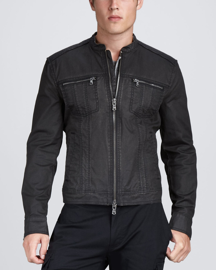 John Varvatos Denim Motorcycle Jacket