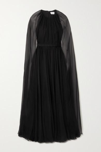 Alexander McQueen Cape-effect Silk-chiffon Gown - Black
