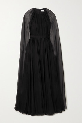 Alexander McQueen Cape-effect Silk-chiffon Gown - Black