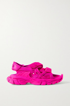 Balenciaga Track Logo-detailed Leather And Rubber Sandals - Fuchsia