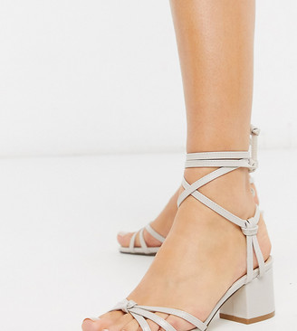 Truffle Collection wide fit mid block strappy tie leg heeled sandals in cream