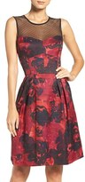 Maggy London Women's Illusion Floral Jacquard Fit & Flare Dress
