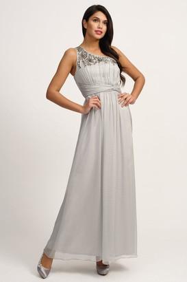 Little Mistress Grey Embellished One Shoulder Maxi Dress