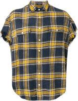 R 13 frayed plaid shirt