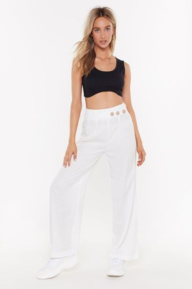 Nasty Gal Womens Wide Leg Trousers With Button Detail - White - L