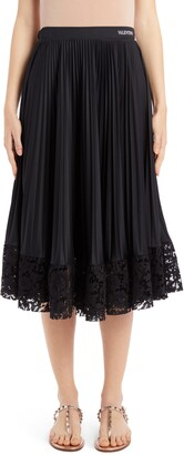 Valentino Lace Hem Pleated Midi Skirt
