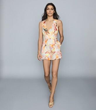 Reiss Floripa - Floral-print Linen Playsuit in Multi