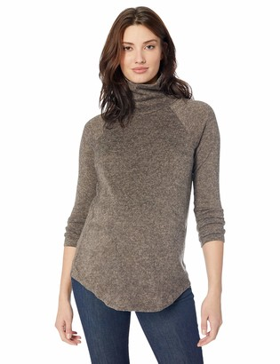Everly Grey Women's Teresa Maternity and Nursing Heathered Turtleneck Sweater