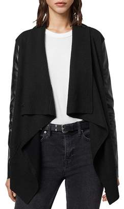 AllSaints Lucia Leather-Panel Cardigan
