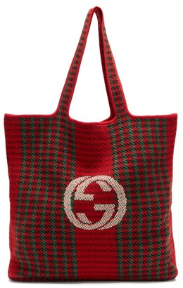 Gucci Cabbage-embroidered Wool-tartan Tote Bag - Red Multi