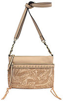 Jessica Simpson Bassie Studded Whip-Stitched Flower-Tooled Cross-Body Bag