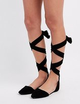 Charlotte Russe Bamboo Lace-Up Ankle Flats
