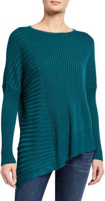 Joan Vass Ribbed Asymmetric Long-Sleeve Tunic