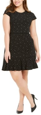 Michael Kors Michael Plus Size Embellished Flounce-Hem Shift Dress