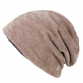 Dawwoti Women's Cable Knit Knit Hat Soft Cable Cuff Beanie Stretch Skull Cap (Khaki One Size)