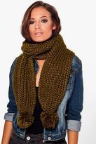 Boohoo Lizzie Pom Chunky Knit Scarf