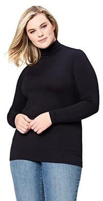 Daily Ritual Amazon Brand Women's Plus Size Fluid Knit Long-Sleeve Funnel Turtleneck Shirt 1X