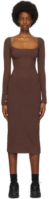 Gil Rodriguez Brown El Tigre Long Sleeve Midi Dress