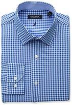 Nautica Men's Regular Fit Gingham Spread Collar Dress Shirt
