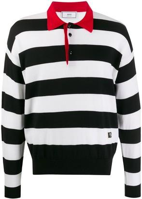 AMI Paris Rugby Striped Polo Shirt