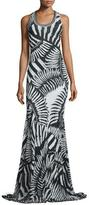 Just Cavalli Kraken Printed Scoop-Neck Maxi Dress, Black/White