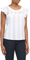 Juniors Woven Lace Inset Top
