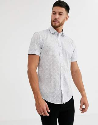 Esprit short sleeve slim fit shirt in blue ditsy floral print-White