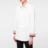 Paul Smith Women's White Cotton Shirt With 'Artist Stripe' Cuffs