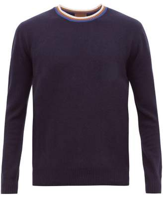 Altea Striped Neck Wool Blend Sweater - Mens - Navy