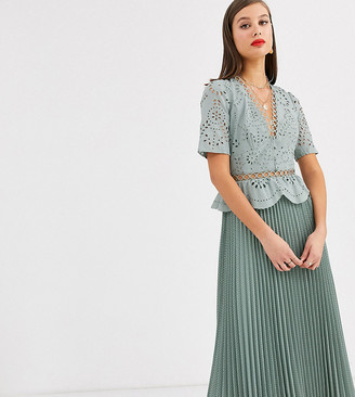 Asos DESIGN Tall broderie button front pleated midi tea dress in sage green
