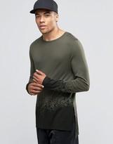 Asos Bamboo Jersey Longline Long Sleeve T-Shirt With Hem Print