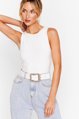 Nasty Gal Womens Squares No Explanation Needed Croc Belt - White