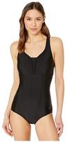 Speedo Solid Touchback One-Piece Black) Women's Swimsuits One Piece