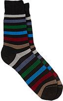 Barneys New York Men's Block-Striped Mid-Calf Socks-BLACK