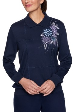 Alfred Dunner Women's Missy Relaxed Attitude Collared Banded Bottom Embroidery Top
