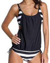 Tina Silvergray Women's Stripes Lined Double Up Tankini 2-Piece Swim Suit