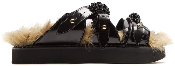 Simone Rocha Faux-fur lined leather slides