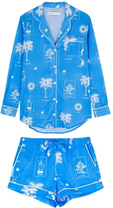 Desmond & Dempsey La Loteria printed cotton pyjama set