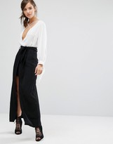 Parallel Lines High Waist Skirt With Tie Waist Detail And Maxi Layer