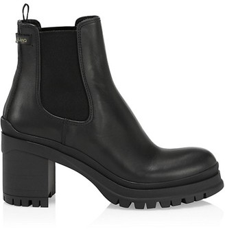 Prada Lug-Sole Leather Chelsea Boots