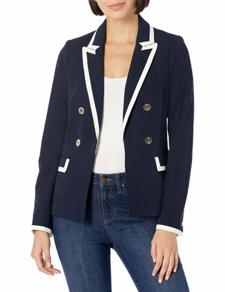 Tommy Hilfiger Women's Faux Double Breasted Piped Blazer
