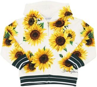 Dolce & Gabbana Sunflower Print Zip-up Cotton Sweatshirt