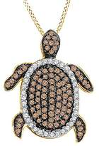 Jewel Zone US Champagne and White Natural Diamond Turtle Pendant 10k Solid Gold