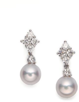 Mikimoto 7.5MM White Cultured Akoya Pearl, Diamond & 18K White Gold Drop Earrings