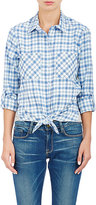 Barneys New York WOMEN'S COMBO KNOTTED SHIRT-BLUE SIZE S
